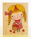 愛のバスケットと三つ編みの女の子/輸入スタンプ
