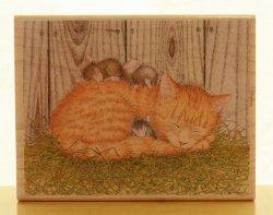 画像1: 猫とネズミの居眠り【輸入スタンプ】