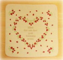 画像1: イチゴのガーゼハンカチ
