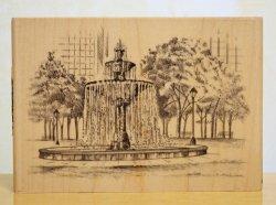 画像1: スケッチ風の噴水広場/輸入スタンプ