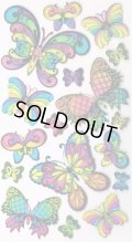 ステンドグラス風の色んな蝶の輸入ステッカー